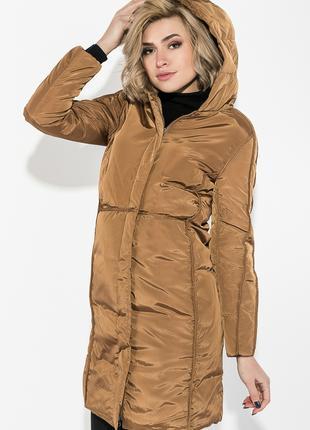 Пальто зимнее женское однотонное, Горчичный