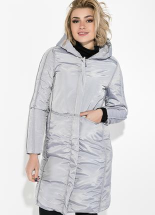 Пальто зимнее женское однотонное, теплое Стальной