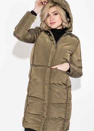 Пальто зимнее женское однотонное, теплое Хаки