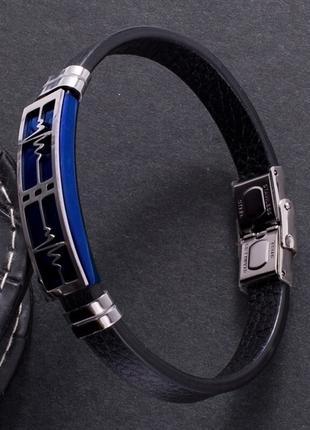 Кожаный браслет сердцебиение пульс сталь линия жизни