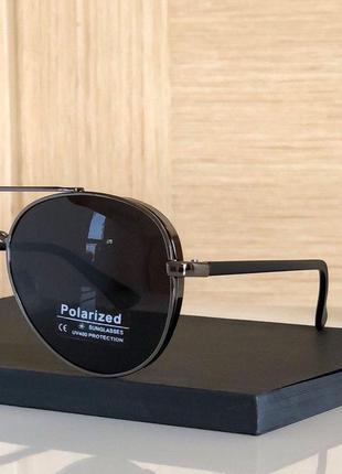 Стильные солнцезащитные очки, типа Polaroid черный металлик