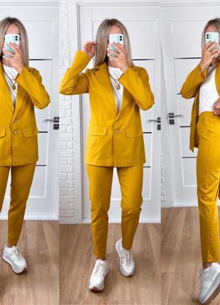 Лляний жіночий брючний костюм двійка піджак жакет + штани брюки