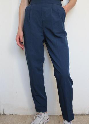 Asos классические синие брюки с высокой посадкой bershka