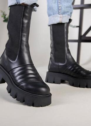 Ботинки женские высокие челси в стиле прада натуральная кожа