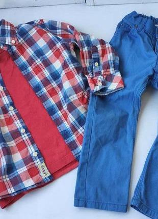 Джинсы, рубашка, футболка, комплект одежды мальчику 2-4 года