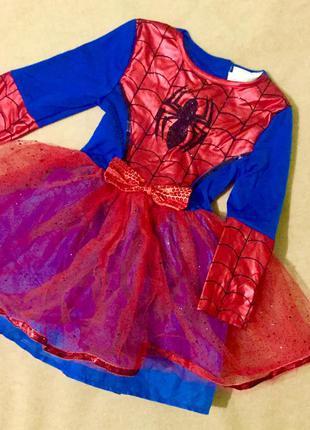 Карнавальный костюм платье на девочку  человек паук 3-4 года