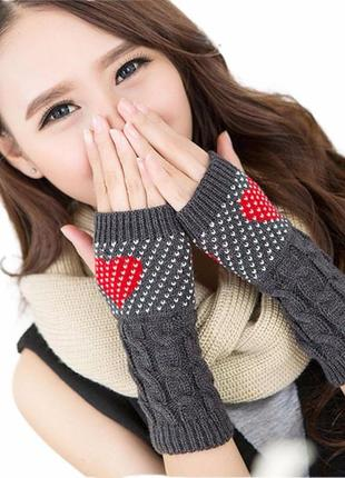 Перчатки без пальцев ( митенки )