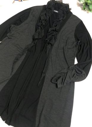 Тонкий стильный черный кардиган накидка кофта пиджак блузка