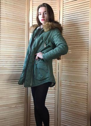 Парка, теплая зимняя куртка на овчине, с капюшоном
