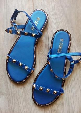 Сезонная распродажа! босоножки сандалии, синий перламутр