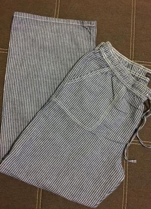 Натуральные брюки в полоску☘️ лён + хлопок