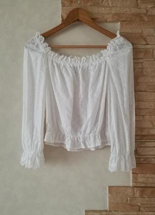 Обалденная белоснежная блуза-топ,вышитая,выбитая,из прошвы