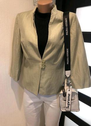 Льняной оливковый пиджак жакет блейзер кардиган накидка
