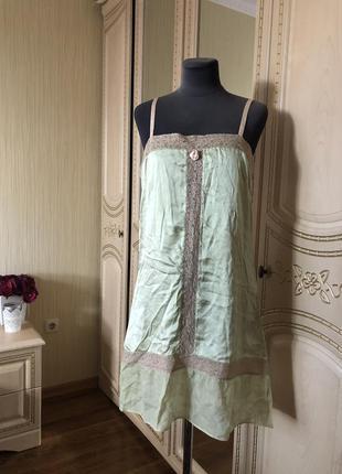 Милейшее шелковое платье комбинация в ретро прованс стиле, нат...