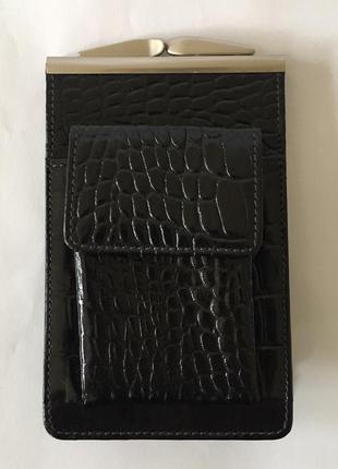 Портсигар женский черный кожаный. супер цена и качество!