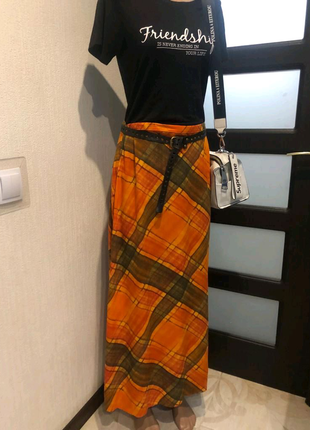 Яркая стильная лёгкая юбка трапеция макси