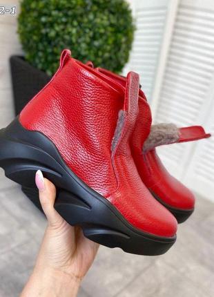 ❤ женские красные кожаные зимние ботинки на низком ходу ❤