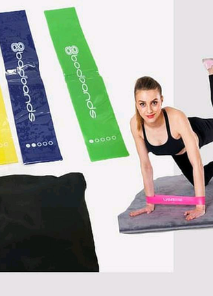 Набор фитнес резинки для фитнеса , спорта из 5 лент и чехла