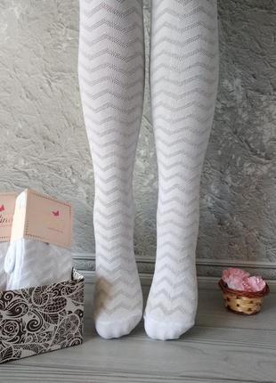Белые ажурные колготки для девочек, ароматизированные. Турция