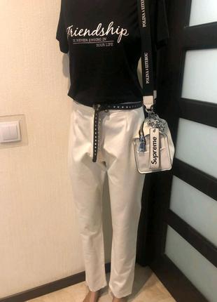 Стильные белые брюки штаны с высокой посадкой