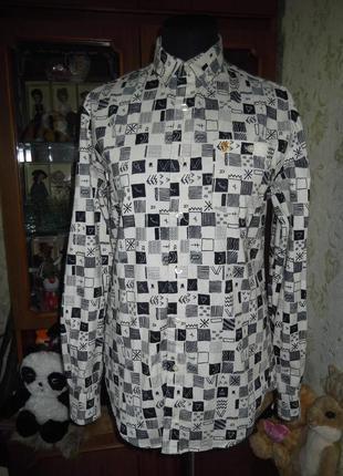 Рубашка с интересным принтом тёплая farah vintage casual fit