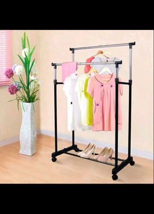 Двойная вешалка стойка для одежды напольная Doubl