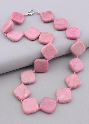 Бусы из натурального розового камня родонит бусины в форме пло...
