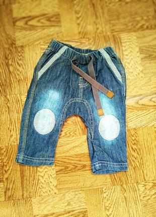 Тонкие джинсовые штанишки для малышей 3-6 мес.