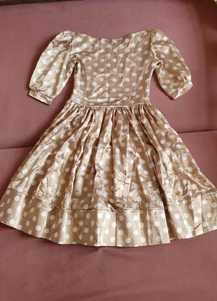 Шёлковое платье миди стиляги винтаж 42 34 размер в горох тренд