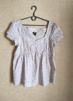 Хлопковая блузки рубашки туника для беременных с рукавами фона...