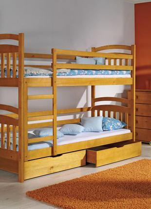 Кровать двухъярусная детская Иринка деревянная трансформер дерево