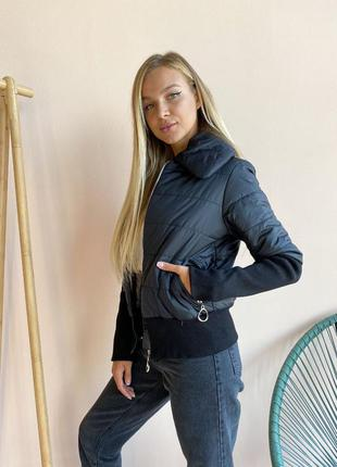 Куртка женская чёрная рукава манжет