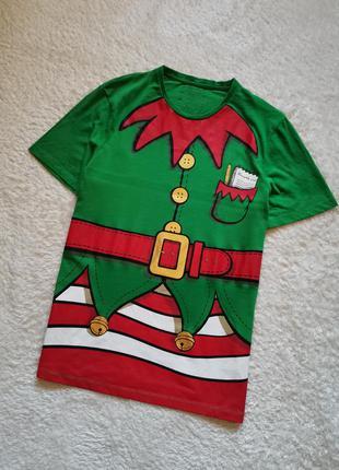 Футболка оверсайз elf с новогодним рождественским 3d принтом эльф
