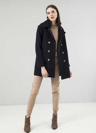 Женское пальто-бушлат season темно-синего цвета