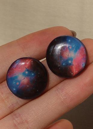 """Серьги-гвоздики """"галактика"""""""
