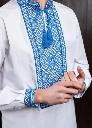 Мужская вышиванка голубая