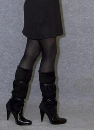 Демисезонные сапоги замша кожа-лак на каблуке albano