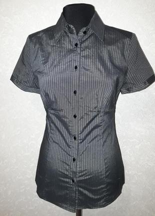 Блуза с короткими рукавами и серебристым переливом ткани oodji