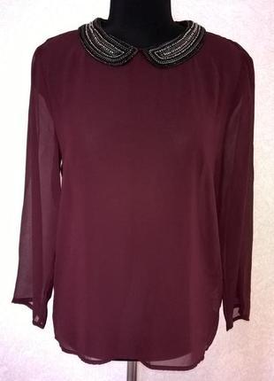 Блуза актуального оттенка марсала zara