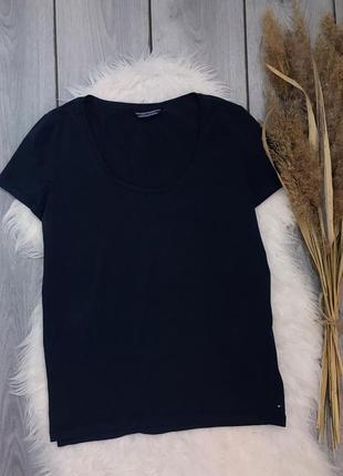 Tommy hilfiger футболка синяя базовая оригинал l 40 12