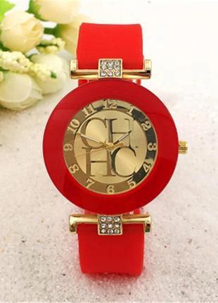 Часы наручные женские красные на силиконовом ремешке годинник