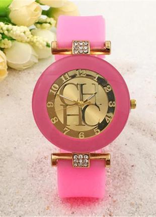 Часы наручные женские розовые на силиконовом ремешке годинник