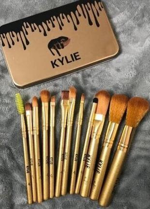 Набор кистей kylie 12шт для макияжа в контейнере