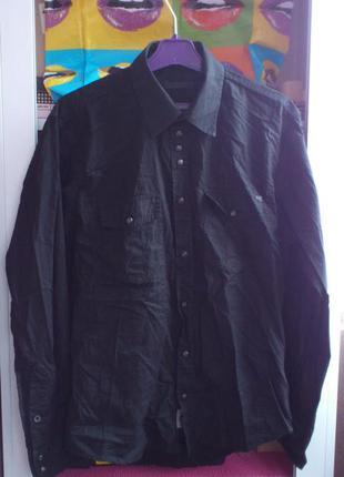Рубашка мужская черная хлопковая на кнопках jack jones premium...