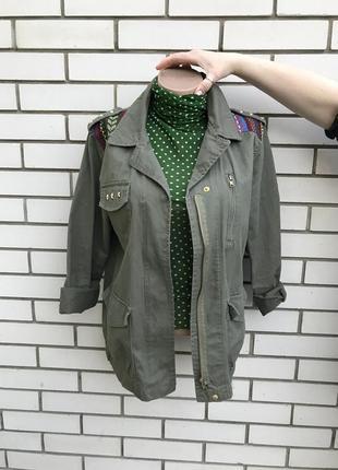 Куртка,парка,жакет ,пиджак с нашивками,в стиле милитари,хаки
