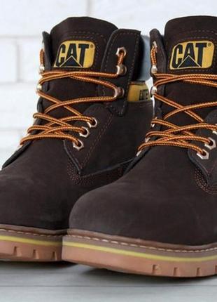 Мужские кожаные ботинки с мехом caterpillar brown.