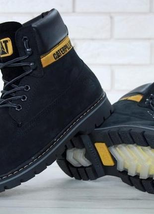 Мужские зимние кожаные ботинки с мехом caterpillar. cat.