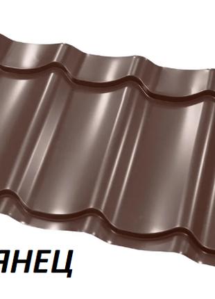 Металлочерепица глянцевая коричневая, 0,4мм RAL8017