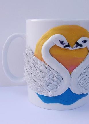 """чашка-сувенир,с декором""""закат солнца и лебеди"""""""