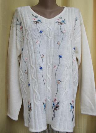 928. пуловер-свитер с шерстью 50-52 р. пог-55 см